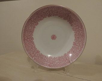 Vintage Furstenberg Porcelain Round Vegetable BOWL Pink Fern Design Made in Germany 9.5 Inch Park Lane Pattern Gold Rim Romantic Home