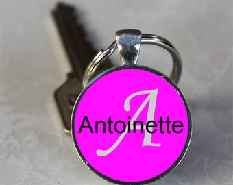 Antoinette Name Monogram Handcrafted Glass Dome Keychain (GDKC0087)