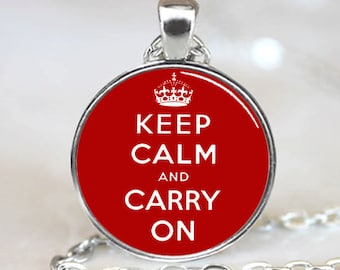 Keep Calm And Carry On  Pendant, Red Charm With Necklace, Silver Plated (PD0238)