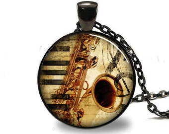 Saxophone Pendant, Musical Instrument Necklace, Music Lovers Jewelry, Black (PD0532)