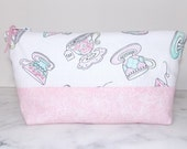 Shabby Chic Pink Tea  Cups Zipper Pouch Cosmetic Bag