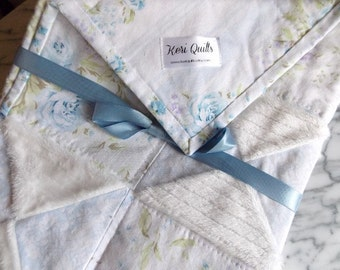 Baby Quilt -Shabby Chic -  Sofa Throw - Blanket - Blue Florals - White Minky