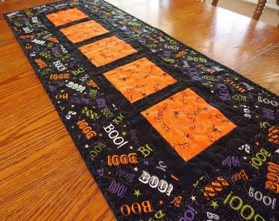 Quilted Halloween Table Runner Spiders Spider Webs Boo