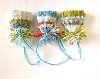 Mod Knit Miniature Hat Ornaments- Set of 3 -Turquoise, White, Orange, Olive Green- Mini Beanies- Made To Order- Doll Hats, Tree Ornaments