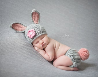 Newborn Bunny Hat with Diaper Cover Outfit - Photo Props, Photography Props, Easter ( available in different color )