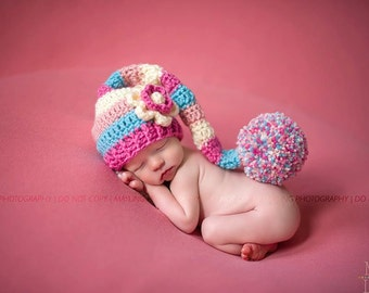 Newborn Baby Stocking Cap/Hat with flower - Photo Props, Photography Props, Infant, Elf Hat, Striped Hat, (Available in Different Color)