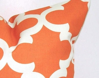 ORANGE PILLOW SALE.12x18 or 12x16.Decorative Pillow Cover.Orange Decorative.Housewares.Home Decor.Tile.Moroccan.Shamrock.Cushion.Cm