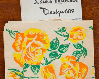 1950's Laura Wheeler Rose transfer - COLOR - No. 609