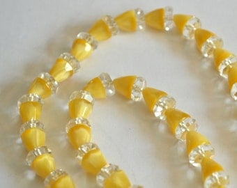 """Yellow Necklace Yellow Lucite Necklace Triangle Cut Beads Crystal 16"""" Yellow Beaded Necklace Crystal Beads Summer Necklace"""