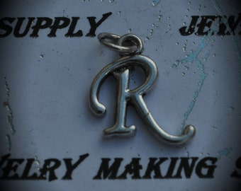 Letter R Sterling Silver Plated Charm