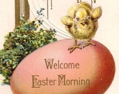 SALE Pretty Vintage Art Deco Influence Easter Greetings Postcard 1915