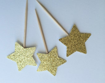 Gold Glitter Star Cupcake Toppers.  Food Pick, Sandwich Pick. Twinkle Little Star. Birthday Party Decor.