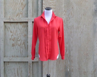 1970s Red Tuxedo Blouse