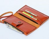 Leather iPhone Wallet with zipper pocket in Orange brown - Backside card slot (For iPhone4/4s, iPhone5/5s)