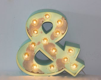 """12"""" Old Vintage Style Marquee Ampersand And Sign Letters Metal Steel...........       A B C D E F G H I J K L M N O P Q R S T U V W X Y Z"""