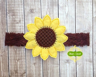Sunflower headband Fall/ Autumn Lace Headband. Celebrate the Season in style!