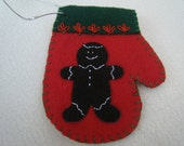 Red Gingerbread Man Felt Christmas Mitten Ornament/Gift Card Holder