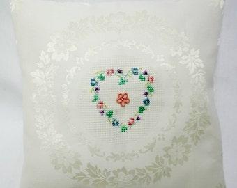 Heart Cross Stitch Damask Pillow