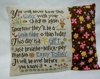 Parent Cross Stitch Accent Pillow