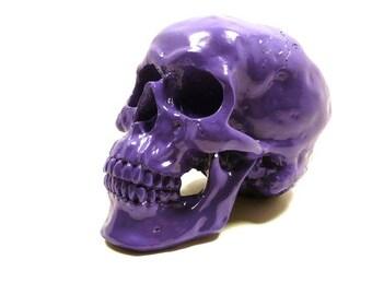 goth skull head, purple, skull decor, painted skulls, eclectic, home decor, purple decor, avant garde, violet