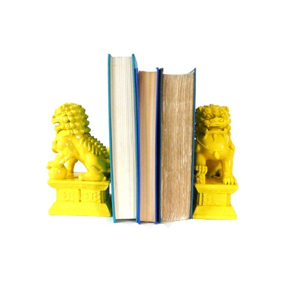 Foo Dogs Bookends Mid Century Modern Yellow Home Decor By