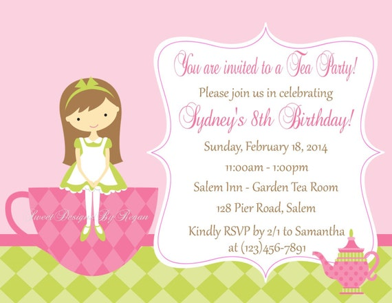 tea party invitation digital file tea party birthday invitation