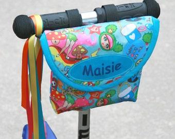 Personalised Child's Handlebar Bag, bike bag, scooter bag, blue fairy dust by Suzielou textiles, waterproof