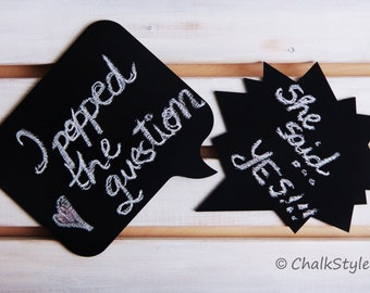 Wedding Photo Props Chalkboard Speech Bubbles Photo Props Wedding Engagement Photography Props Wooden Chalk Boards