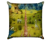 The Garden of Earthly Delights by Bosch (2) - Famous Art Sofa Throw Pillow