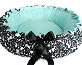 Black and White Damask Minky Pet Bed with Blue Dot X Small