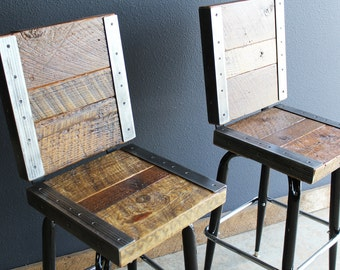 2 Restaurant Bar Stools with backs made with old reclaimed barn wood