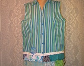 Clearance Sale XL Sleeveless Button Front Top Poly-Cotton Boho Hippie Upcycled Upscaled Altered Clothing Colorful Eco Chic