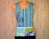 Clearance Sale Size M Sleeveless Button Front Top Cotton Embroidered Boho Upcycled Upscaled Altered Clothing Colorful Eco Chic