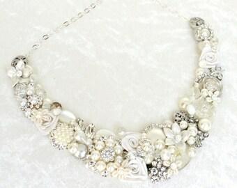 Bridal Statement Necklace- Bridal Bib Necklace- Pearl Bib Necklace- Pearl Bridal Bib- Wedding Necklace- Brass Boheme Bib- Ivory Bridal Bib