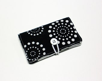 Black White Retro Dots Fabric Business Card Holder, with Black Green Grey Lg Dots - Credit Card Holder, Cloth Card Holder, Gift Card Holder