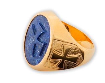 Templar Cross Ring Heraldic Lapis Carved Gemstone Gold Plated Sterling Silver 925