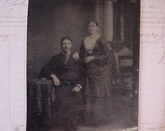 Sweet Early Victorian Era Tintype of Charming Couple