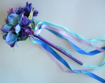 Blue Lavender and Purple Flower Girl Wand with Orchids, Hydrangea and Lilies