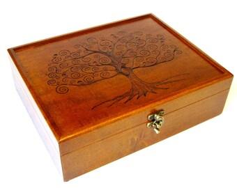 "Tree of Life Memory Box - 12"" x 9.5"", Large wood keepsake box for Birthday, Wedding, Valet Box or Jewelry Box"