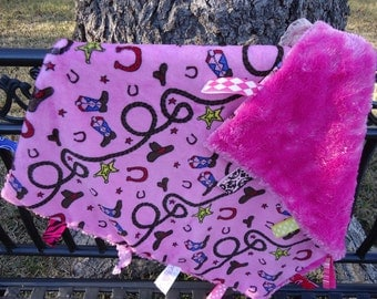 Pink Western Print Minky Blanket Baby Girl Security Blanket