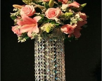 Tall crystal / pearl  wedding table centre piece