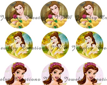 Disney's Beauty and the Beast inspired 1 Inch Bottle Cap Images - Belle