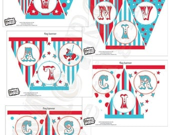 Circus or Carnival Banner Kit - 6 Different Banners
