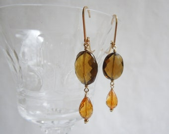 Citrine and Whiskey Quartz Earrings: Topaz and Gold