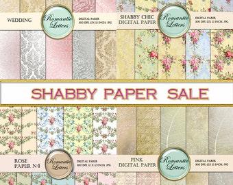 SALE digital paper scrapbook paper mega pack Shabby Chic digital background paper Shabby Chic rose printable wedding  backdrop baby