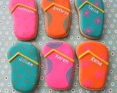 Slipper Sandal Flip Flop Sugar Cookies - 1 Dozen