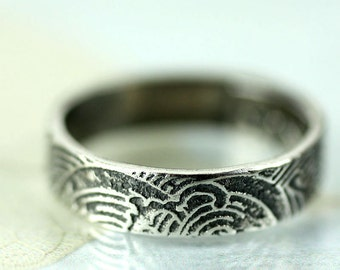 Sterling Band Ring - Ocean Wild Waves - Beneath the Surface - Your Size