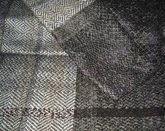 30%DISCOUNT/Handwoven Scarf for Men Black and Gray Pattern - Autumn Scarf Dark Fringed Scarf - Warm Scarf - Unisex Scarf - Multifaceted