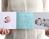 TRIFOLD or ACCORDION FOLD Birth Announcement with Watercolor, Up to 5 photos, Printed with Envelopes