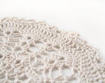 "Round Doily, Ivory Moonshine - Natural Ecru Cream, 5.5"", Cotton - Lace Crochet Snowflake Cottage Wedding Rustic White Home Decor"